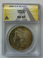1880 O NEW ORLEANS MORGAN SILVER DOLLAR VAM-29 DOUBLED 188, O/O ANACS MINT STATE 62 831