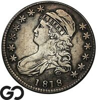 1818 CAPPED BUST HALF DOLLAR TOUGHER DATE EARLY SILVER 50C