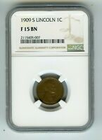 1909 S 1C LINCOLN WHEAT CENT  F 15 BN  NGC