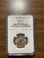 1917-P TYPE ONE STANDING LIBERTY SILVER QUARTER 25C MINT STATE 63 FULL HEAD FH TYPE 1