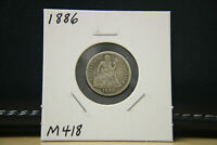 1886 SEATED LIBERTY DIME SILVER LOT M418