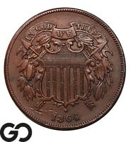 1864 TWO CENT PIECE LARGE MOTTO