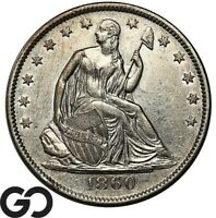 1860 O SEATED LIBERTY HALF DOLLAR CHOICE AU COLLECTOR TYPE COIN    FREE S/H