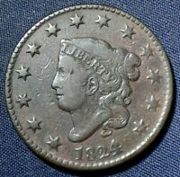 1824 LARGE CENT 1  NICE COIN