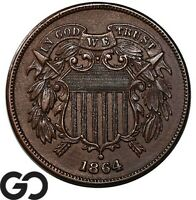 1864 TWO CENT PIECE LARGE MOTTO BU   COLLECTOR COPPER
