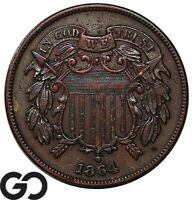 1864 TWO CENT PIECE LARGE MOTTO CHOICE AU COLLECTOR TYPE COP