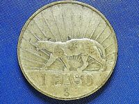 URUGUAY  ONE YEAR TYPE  1942 1 PESO 72  SILVER COIN