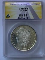 1880 S MORGAN SILVER DOLLAR VAM-46 DOUBLE 80 CAMEO PL GRADED ANACS MINT STATE 63 PL 152