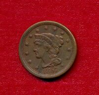 1857 BRAIDED HAIR LARGE CENT   VERY NICE LIGHTLY CIRCULATED