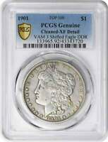 1901 VAM 3 MORGAN DOLLAR SHIFTED EAGLE EXTRA FINE  DETAIL CLEANED PCGS