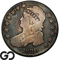 1830 CAPPED BUST HALF DOLLAR EARLY DATE SILVER 50C