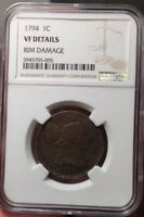1794 UNITED STATES LIBERTY CAP ONE CENT COIN VF DETAILS RIM