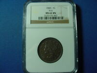 1845 LARGE CENT N 6 NGC MS62BN