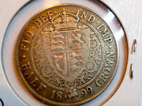 1899 GREAT BRITAIN  VICTORIA 1/2 CROWN SILVER  NICE LARGE COIN