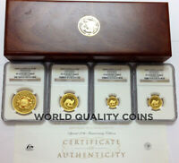 AUSTRALIA 2005 SET 4 GOLD $100 KANGAROO NUGGET COLORIZED NGC PF69 70 MINTAGE 199