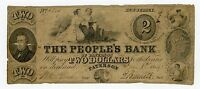 1849 $2 THE PEOPLE'S BANK   PATERSON NEW JERSEY NOTE