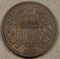 1869 TWO CENT PIECE BETTER CIRCULATED GRADE COIN