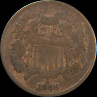 1869 TWO CENT PIECE IN VG