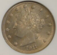 1911 V-NICKEL NGC MINT STATE 64