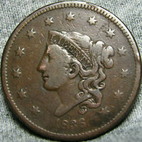 1836 CORONET HEAD LARGE CENT US PENNY       TYPE COIN        V597