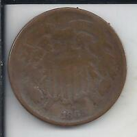 1865 TWO CENT COPPER,  TYPE COIN, NO RESERVE, SHIPS FREE