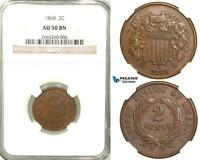 R585, UNITED STATES, 2 CENTS 1868, NGC AU50BN