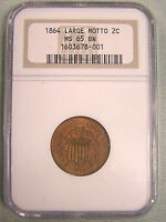 1864 TWO CENT CERTIFIED NGC MINT STATE 65BN, ATTRACTIVE WITH RED UNDERGLOW