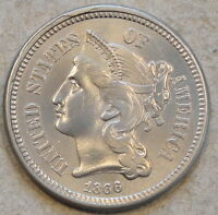 1866 3 CENT NICKEL UNC ALTERED SURFACESWHIZZED OR CLEANED LOOKS GEM IN HAND