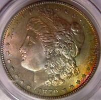 1879 S MORGAN SILVER DOLLAR PCGS MINT STATE 65 RAINBOW TONED OBVERSE