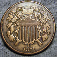 1871 TWO CENT PIECE 2 CP TYPE COIN  ---- DAMAGED  ----   P418