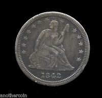 1842 O    LARGE DATE    AU      SEATED QUARTER 155 209