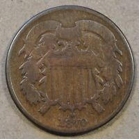 1870 TWO CENT PIECE FULL RIMS OLD CLEANING SMALL REV RIMP BUMP @ 4:00