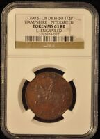 1790'S GB D&H 50 1/2P HAMPSHIRE   PETERSFIELD TOKEN MS 63 RB E.ENGRAILED