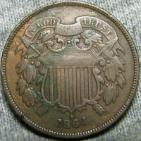 1864 TWO CENT PIECE 2CP TYPE COIN 180 ROTATED REVERSE  ----  ----   V919