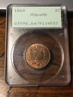 1868 TWO CENT PIECE PCGS MINT STATE 64RB RATTLER