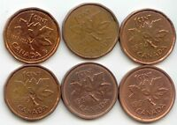 CANADA 1992 1993 1994 1995 1998  1999 ONE CENT CANADIAN PENNIES PENNY 1C SET