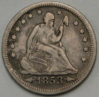 1853 ARROWS RAYS SEATED LIBERTY QUARTER UNGRADED