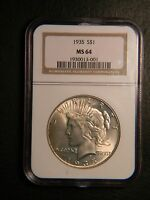 1935 PEACE DOLLAR MS 64 NGC