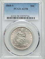 1868 S  SEATED LIBERTY HALF  PCGS AU 58  RARITY RATES BETTER THEN 1873 CC