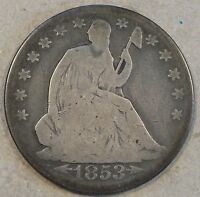 1853 O LIBERTY SEATED HALF DOLLAR ARROWS AND RAYS DECENT LOWER GRADE COIN