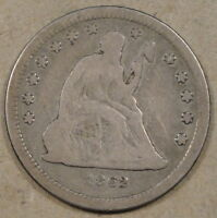 1862 LIBERTY SEATED QUARTER LOW MID GRADE COIN POPULAR CIVIL WAR DATE