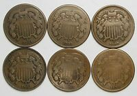 LOT OF 6 1864-1868 & 1870 COPPER 2C TWO CENT PIECES G-VG LARGE MOTTO 55821