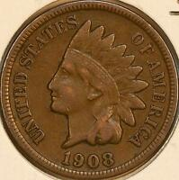 1908 S INDIAN HEAD CENT 1C FINE VF