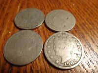 4 COIN LOT OF LIBERTY HEAD NICKELS - 1899, 1900, 1901 & 1902