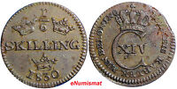 SWEDEN  CARL XIV JOHAN 1830 1/6 SKILLING  BROWN  XF CONDITION KM 625