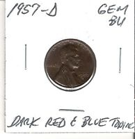 1957 D GEM BRILLIANT UNCIRCULATED BU DEEP BLUE & RED LINCOLN WHEAT CENT