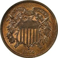 1866 2C TWO CENT PIECE NGC MINT STATE 65BN
