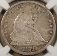 1871 S LIBERTY SEATED HALF DOLLAR NGC F15 TOUGHER TO FIND