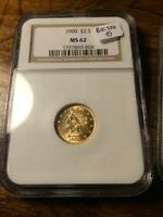 1900 $2.50 GOLD LIBERTY HEAD QUARTER EAGLE NGC MS62 GROUP OF 2