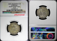 ARGENTINA CORDOBA SILVER 1849 2 REALES NGC F15 EIGHT POINT SUN  KM 28